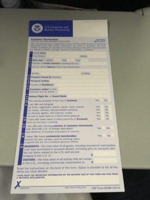アメリカ 入国 書類